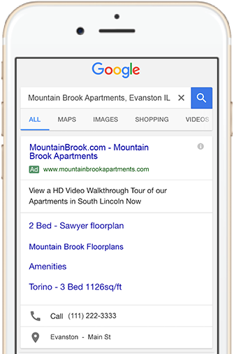 Example search with Google AdWords on a phone