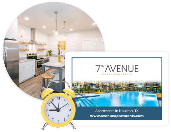 Collage of a kitchen, yellow clock, and a digital ad for an apartment
