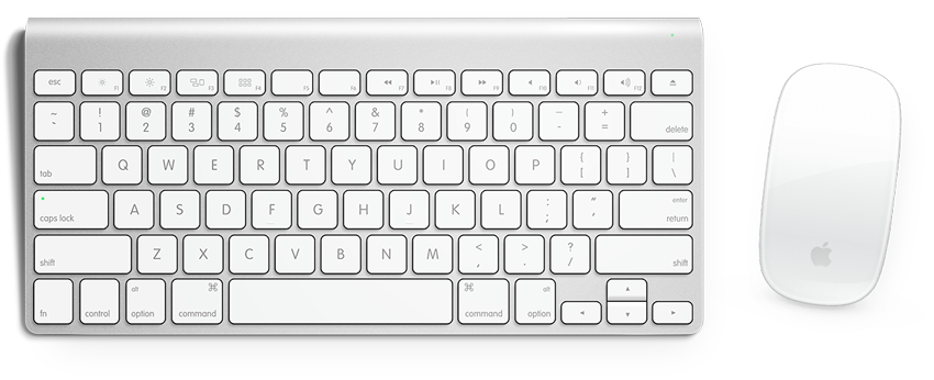 Computer keyboard with a mouse to the right