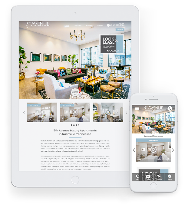 Apartment community website displayed on iPad and iPhone