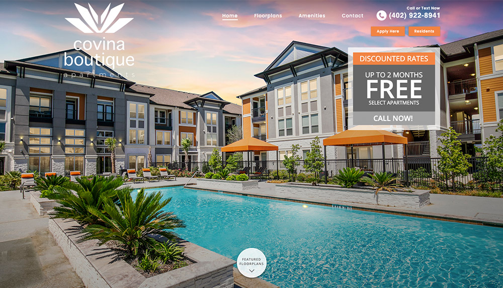 Homepage of Covina Boutique Apartments' website