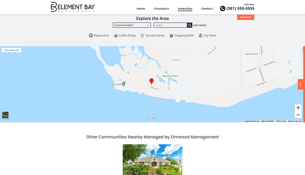 Explore the area page on apartment community website