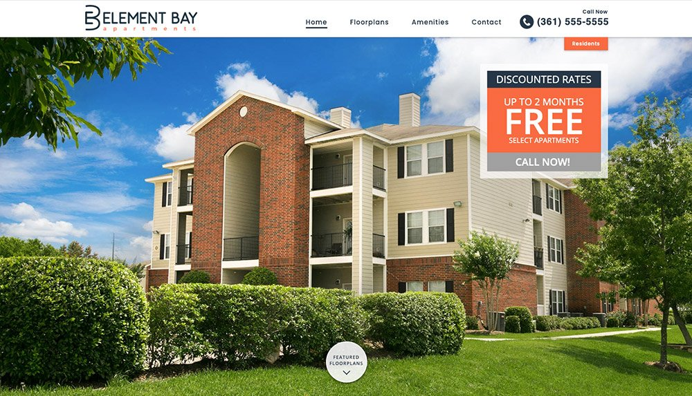 Homepage of Belement Bay Apartments' website