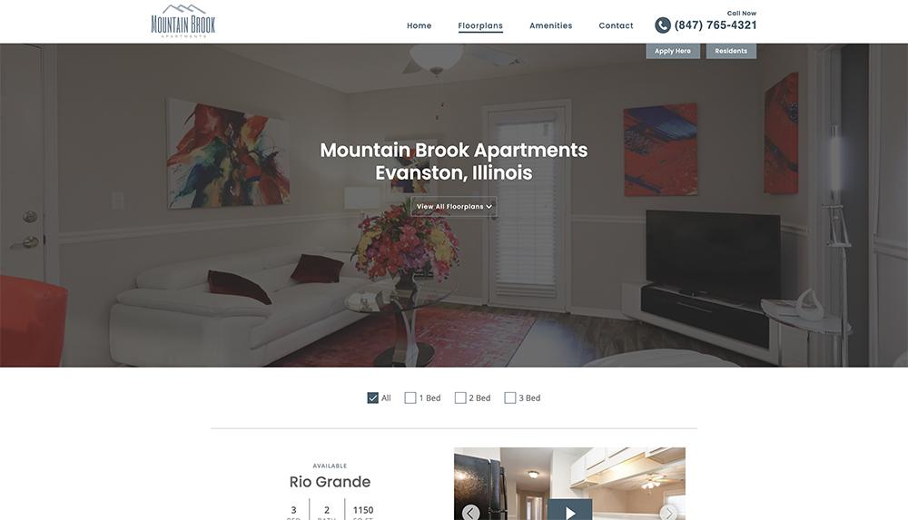 Floorplans page on apartment community website
