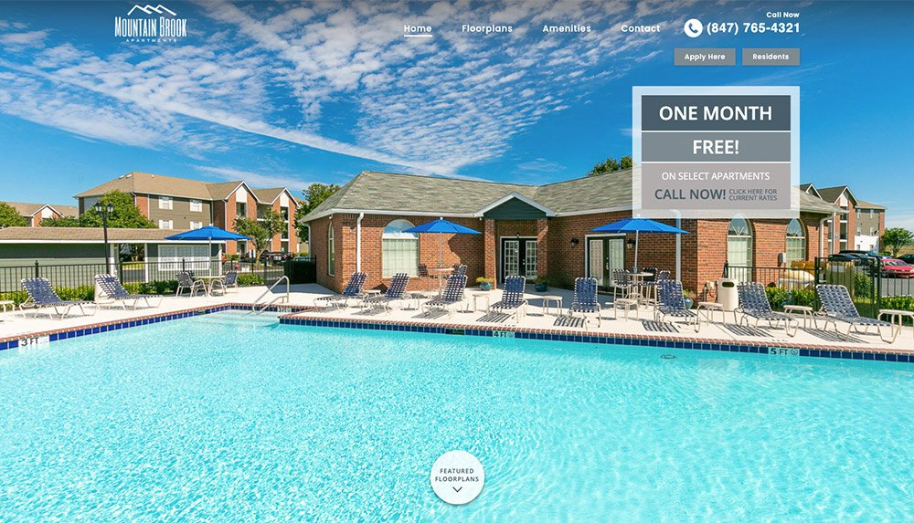 Homepage of Mountain Brook Apartments' website