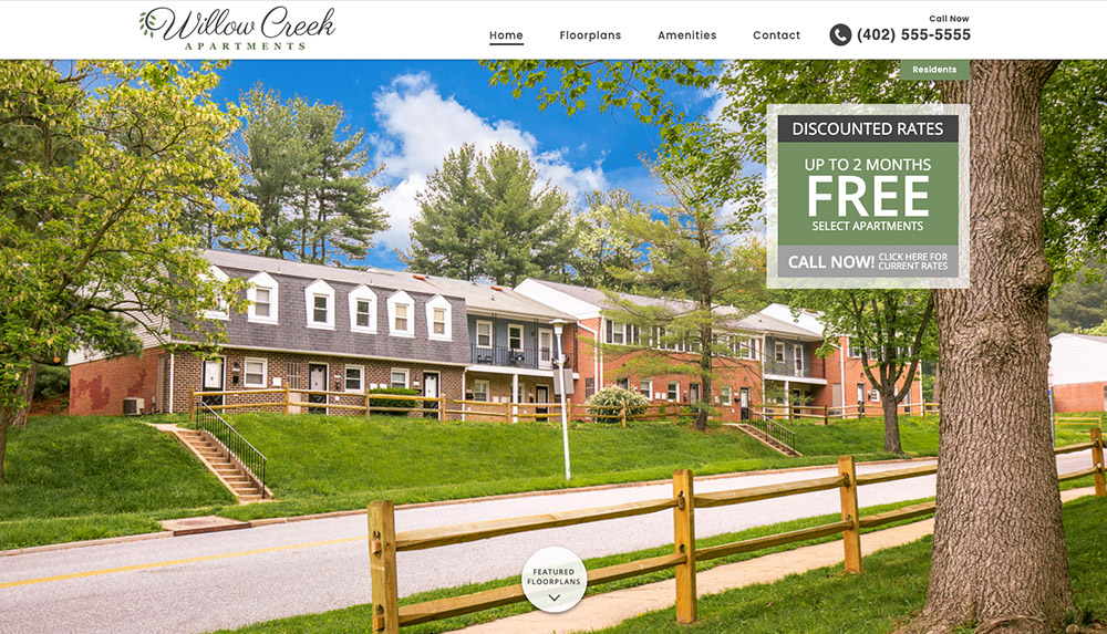 Homepage of Willow Creek Apartments' website