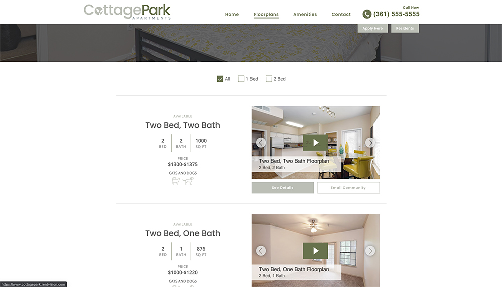 Website page with list of floorplans at apartment community