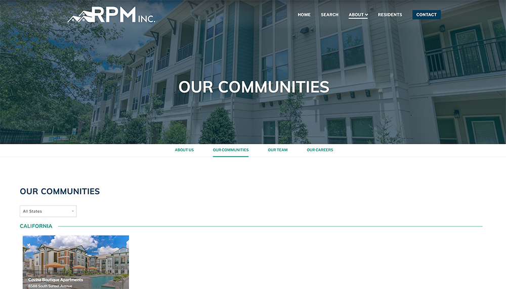 List of apartment communities page on corporate website