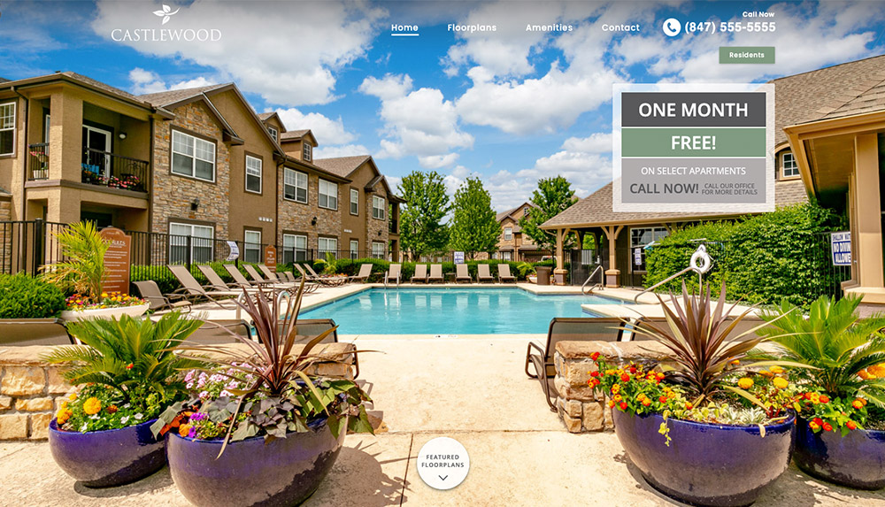 Homepage of Castlewood Apartments' website