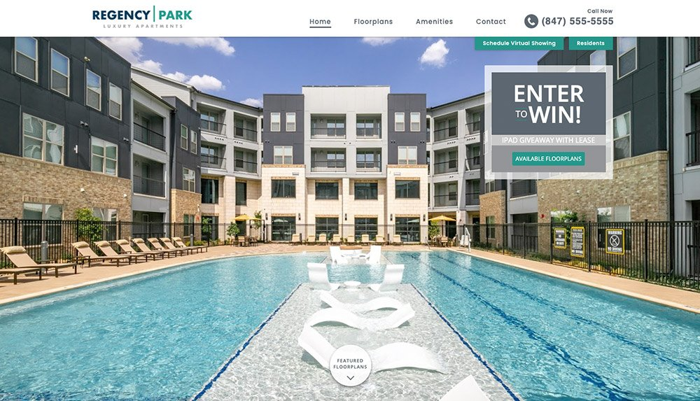Homepage of Regency Park Luxury Apartments' website