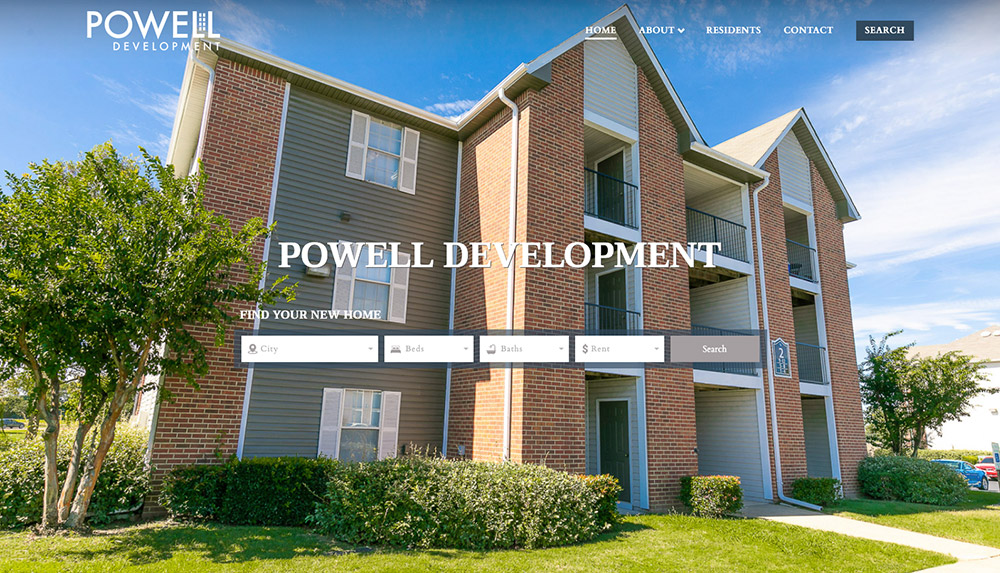 Homepage of Powell Development's website