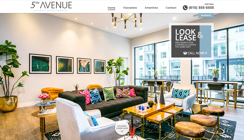 Homepage of 5th Avenue Luxury Apartments' website
